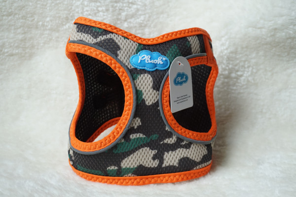Plush Step In Air Mesh Harness Camo-Orange