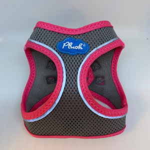 Plush Step In Air Mesh Harness Grey-Pink